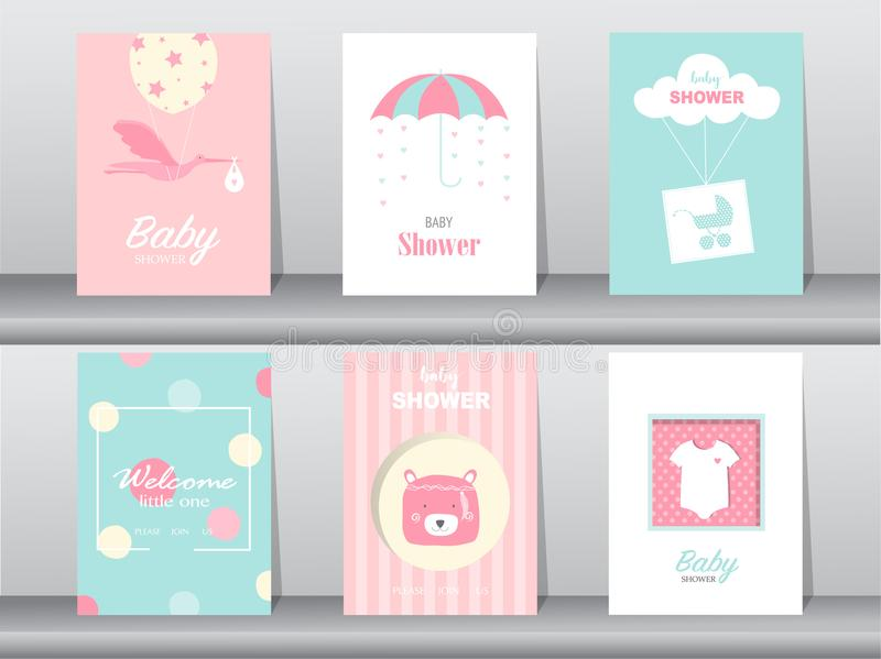 Set of baby shower invitations cards,poster,greeting,template,stork,birthday,bear,Vector illustrations. Set of baby shower invitations cards vector illustration
