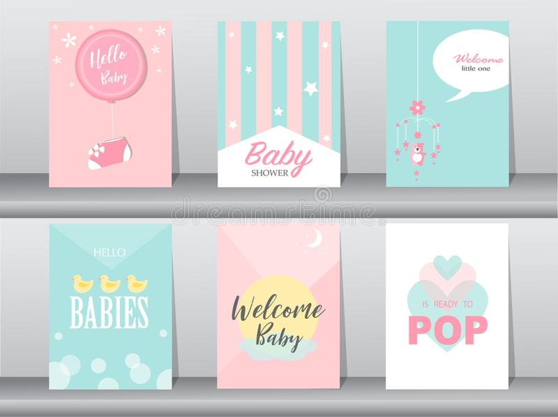 Set of baby shower invitations cards, poster, greeting, template, birthday, Vector illustrations. Set of baby shower invitations cards, poster royalty free illustration