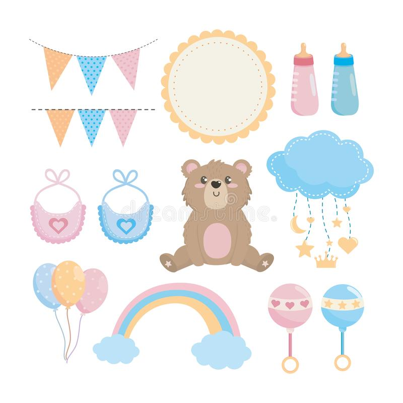 Set of baby shower and special decoration. Over white background vector illustration stock illustration