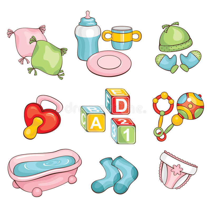 Set of baby things stock illustration