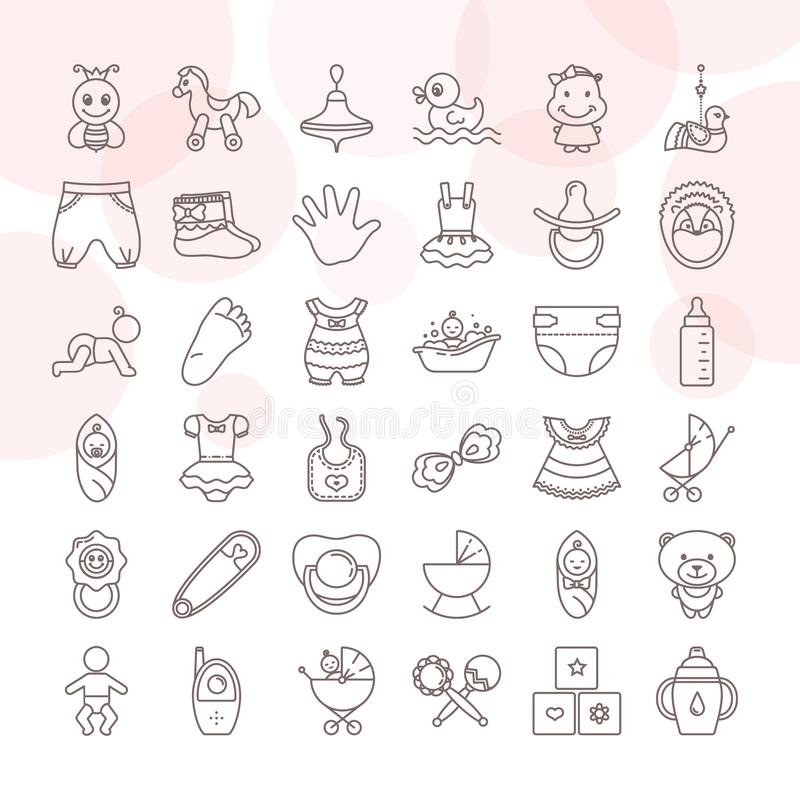 Set of baby toys and clothes icon set isolated on a white background vector illustration