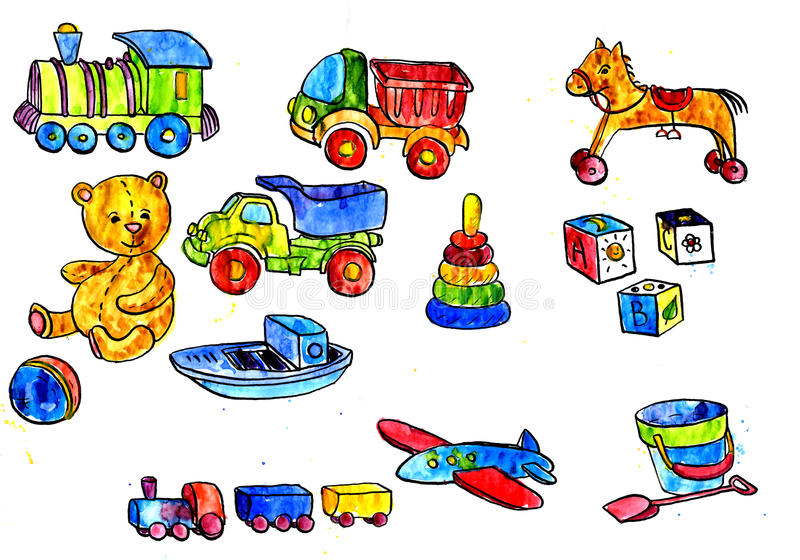 Boy Toys Drawing : Set of baby toys stock illustration image horse