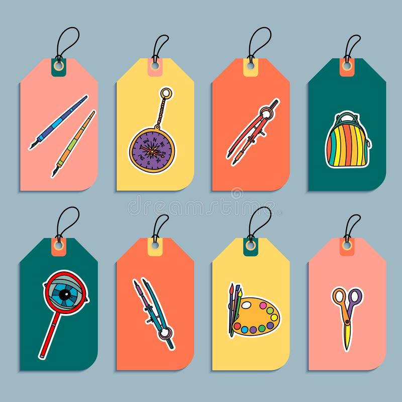 Set of back to school gift tags. royalty free illustration