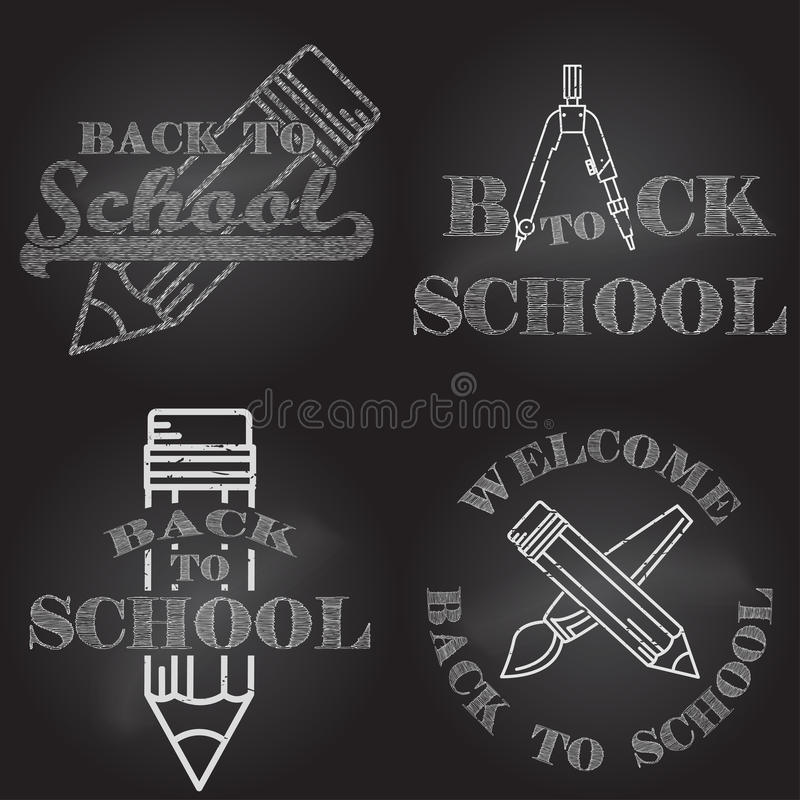 Set of Back to School retro design. For web design, mobile and application interface, also useful for infographics. Vector illustration royalty free illustration