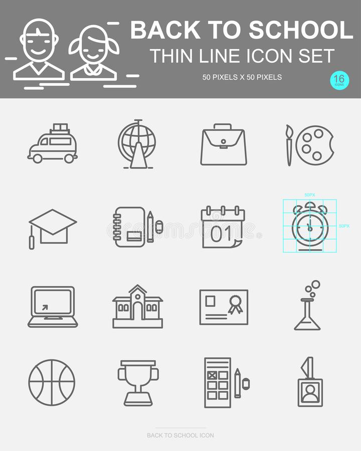 Set of Back to school Vector Line Icons. Includes bus, bag, biology, clock, chemistry and more stock illustration