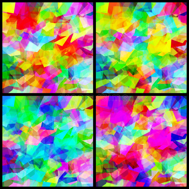 Set Background Multicolor Polygon Abstract royalty free illustration