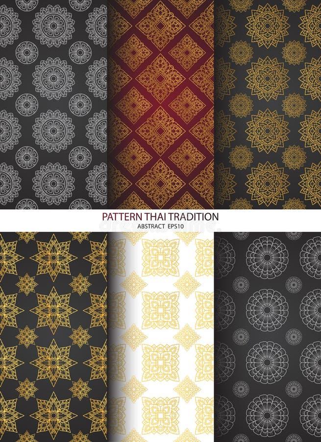Set background pattern thai tradition. Vector stock illustration