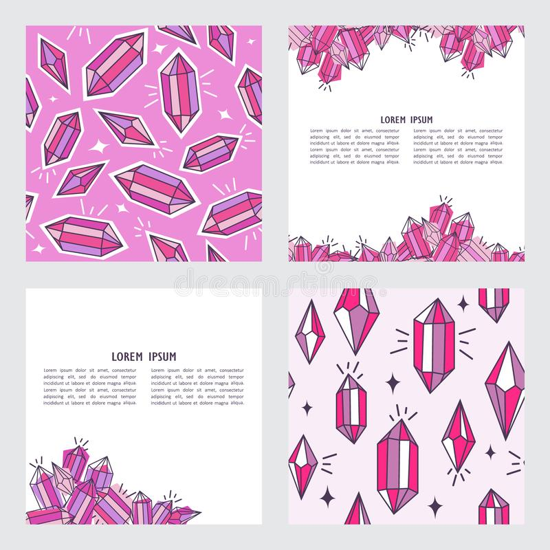 Set of backgrounds with crystals stock illustration