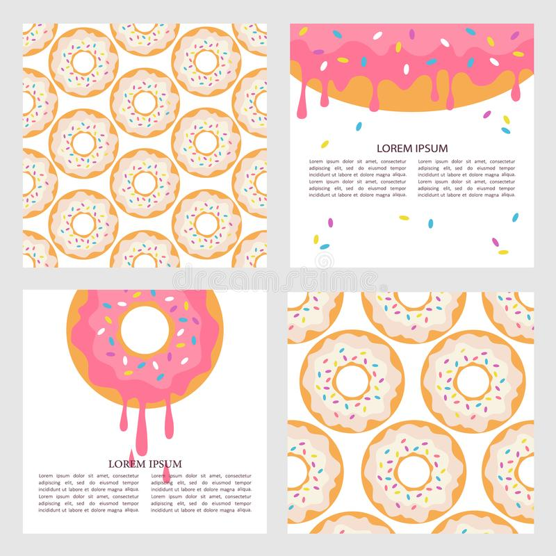 Set of backgrounds with donuts royalty free illustration