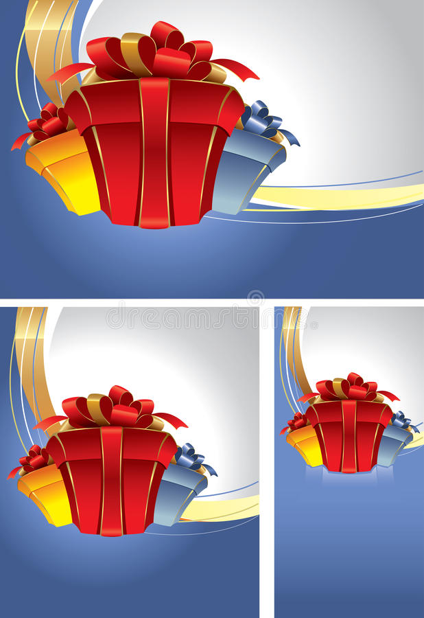 Download Set Of Backgrounds With Gift Boxes Stock Vector - Image: 16215996