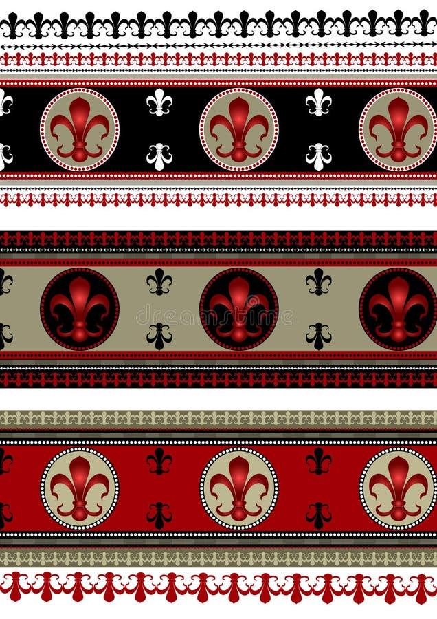 Set of backgrounds with heraldic symbols. Set of seamless backgrounds borders with heraldic lily stock illustration