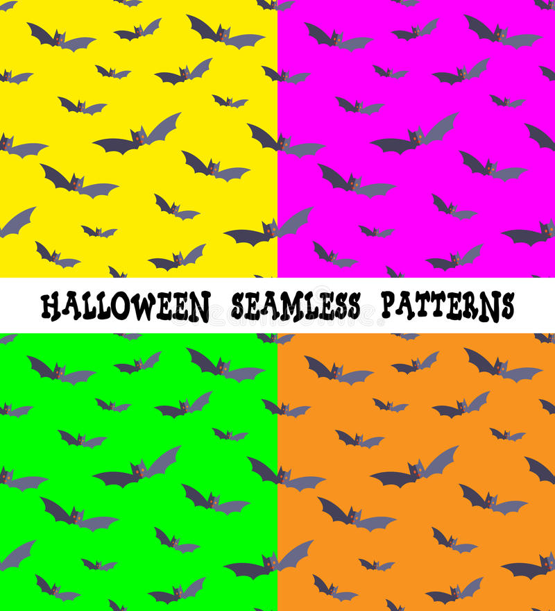 A set of backgrounds for the holiday Halloween, bat, an editable file, four colors, seamless. stock illustration