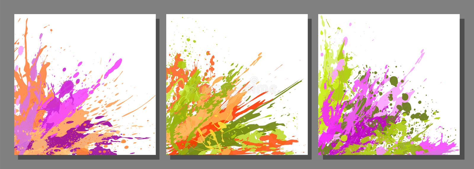 Set of Backgrounds and paint blots, splashes, drops royalty free illustration