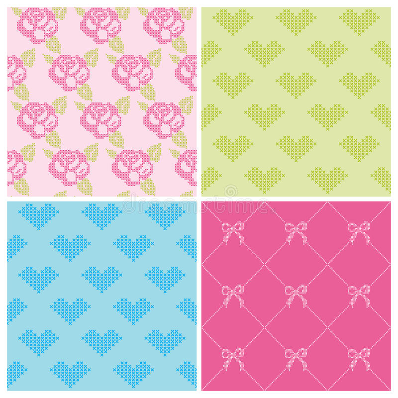 Set of Backgrounds. Stitch Roses and Hearts - in stock illustration