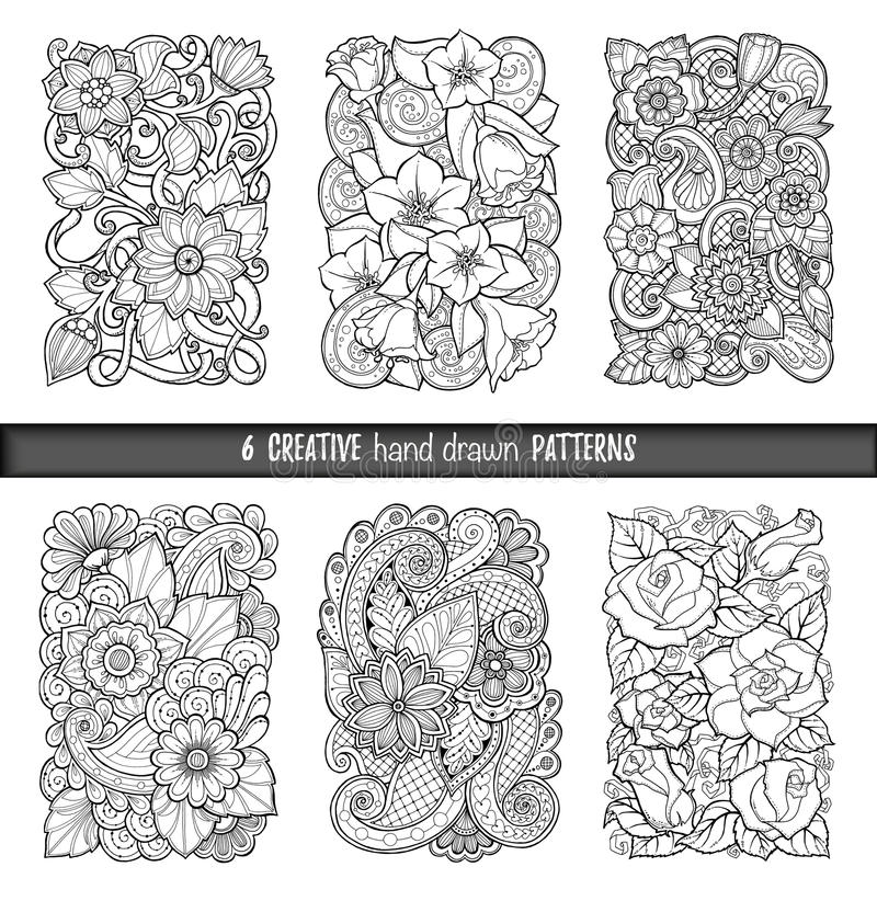download set of backgrounds in vector with doodles flowers and paisley for wallpaper