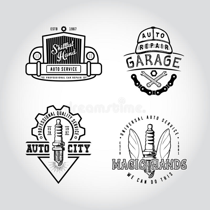 SET OF BADGES AUTO SERVICE. stock illustration