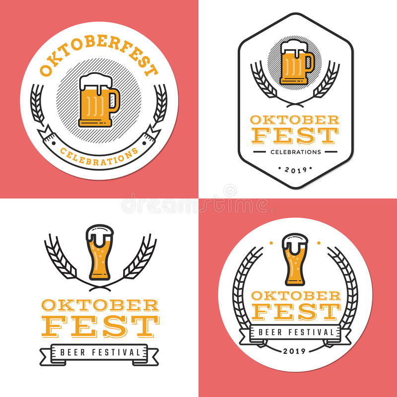Set of badges, banner, labels and logo for oktoberfest, german beer festival. Simple and minimal design. stock illustration