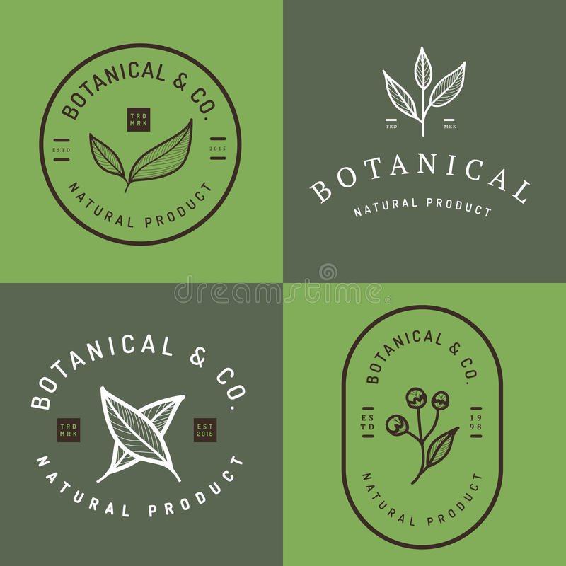 Set of badges, banner, labels and logos for botanical natural product, shop. Leaf logo, flower logo. royalty free illustration