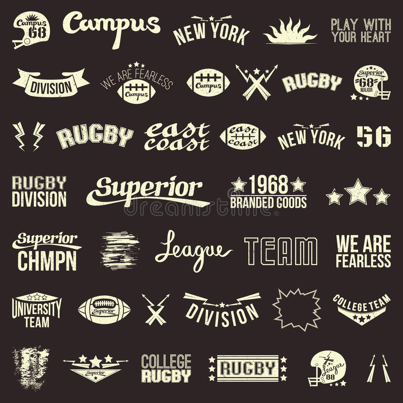 Set of badges college rugby team. Badges college rugby team in retro style. Light emblem on a dark background vector illustration