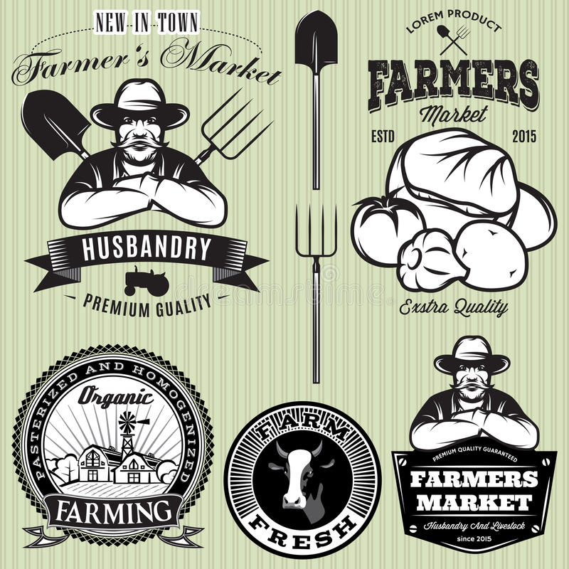 Set badges with the farmer and vegetables for the farmers shop. Set of badges with the farmer and vegetables for the farmers shop stock illustration