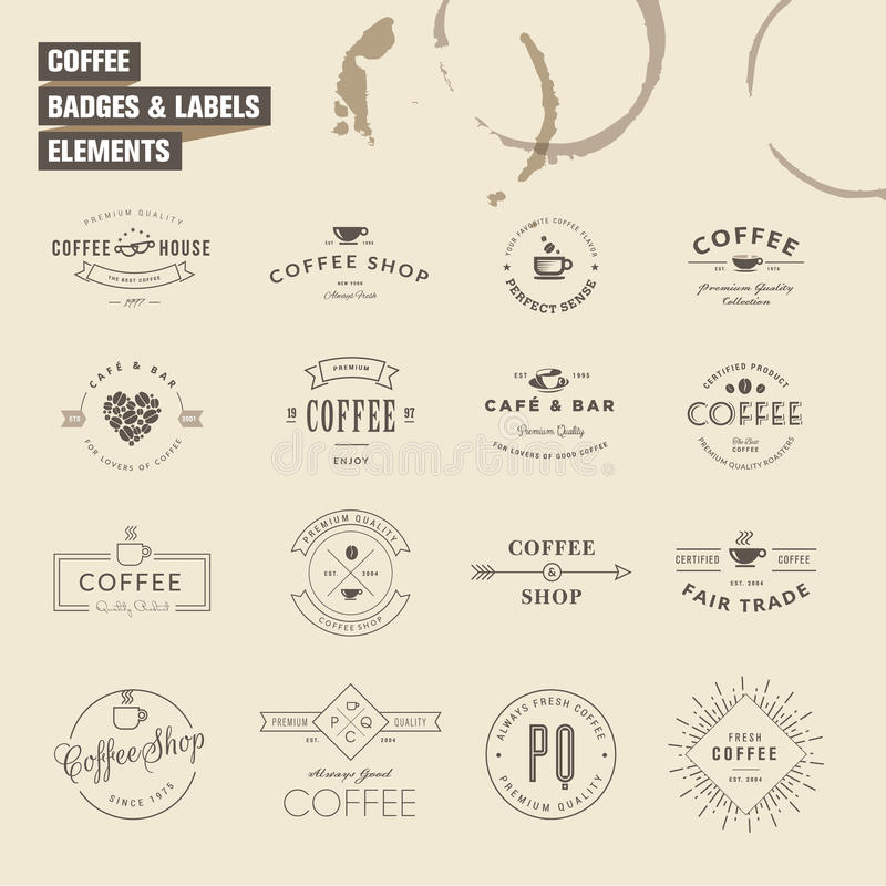 Set of badges and labels elements for coffee stock illustration