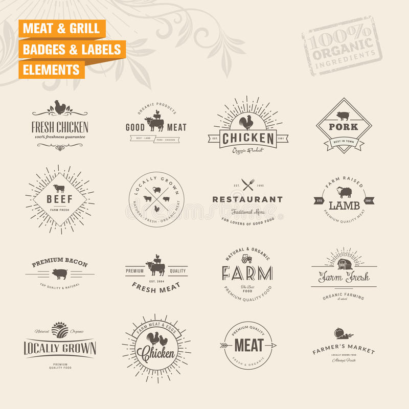 Set of badges and labels elements for meat and gri royalty free illustration
