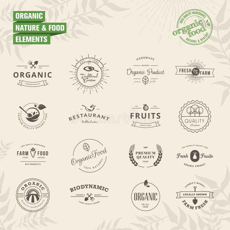 Set of badges and labels elements for organic stock illustration
