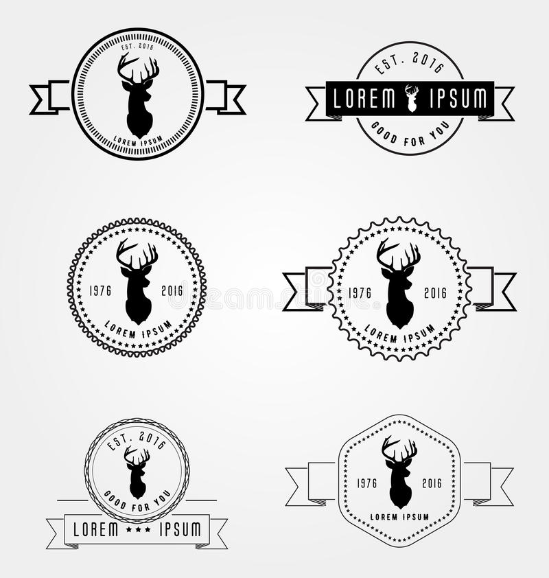Set of badges labels hipster logo. Vector illustration deer head. Collection retro vintage emblem templates. Hand crafted drawn graphics for logotypes and royalty free illustration