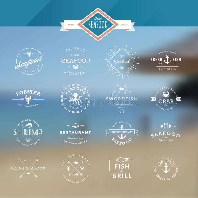 Set of badges and labels for seafood vector illustration