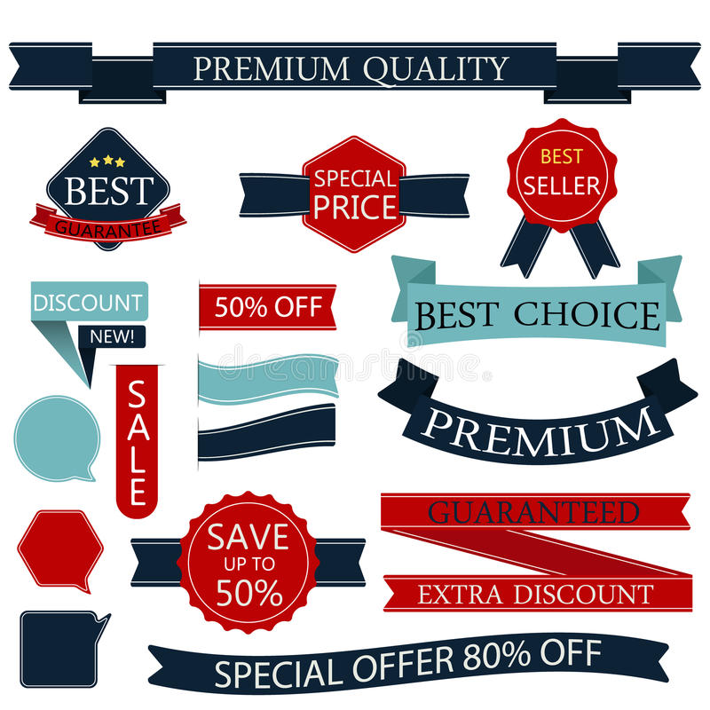 Set of badges labels Stamps Ribbon Vector/illustration. royalty free stock photography