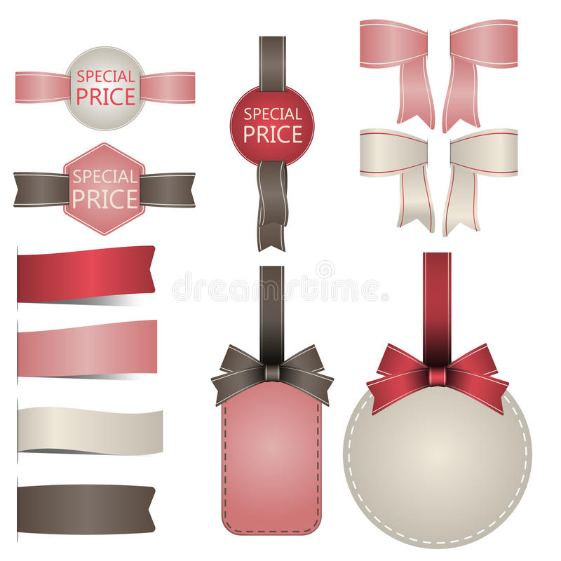 Set of badges labels Stamps Ribbon Vector stock photos