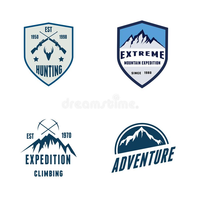 Set Badges Mountain Expedition Outdoor Logo royalty free stock images