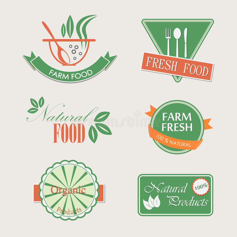 Set of badges for organic and natural products. Labels badges and elements for organic food stock illustration