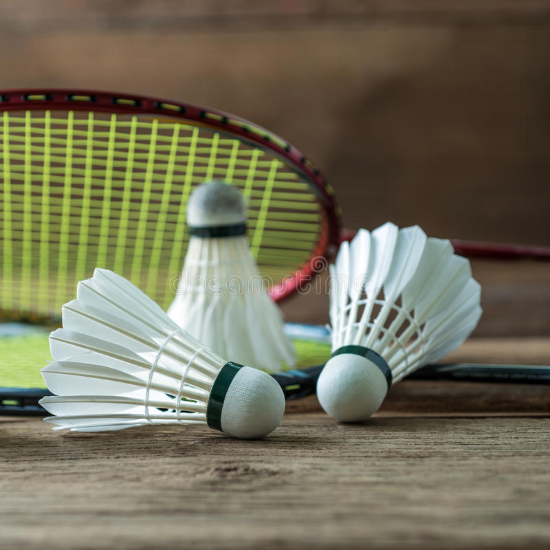Set of badminton. Paddle and the shuttlecock stock photos