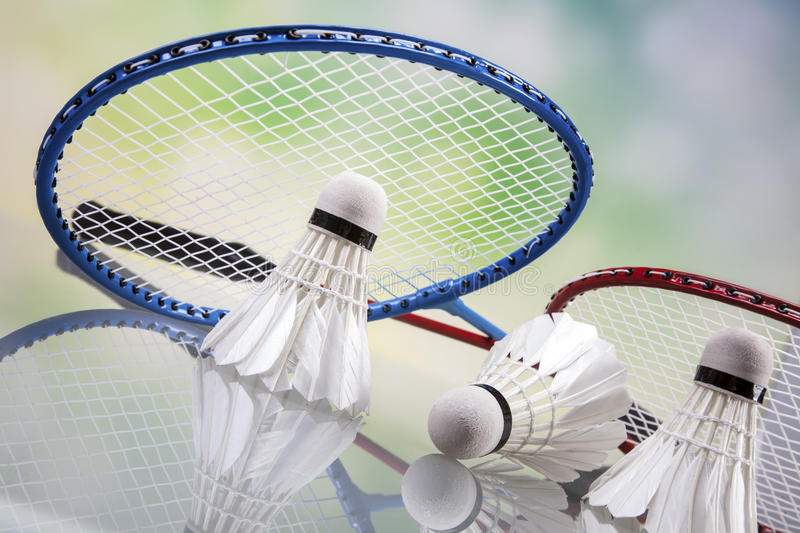A set of badminton. Paddle and the shuttlecock. Studio shot royalty free stock photography