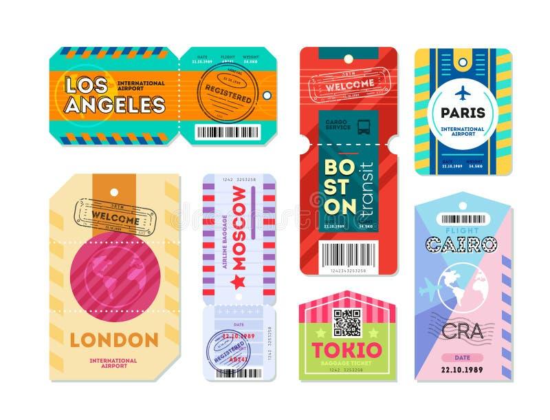 Set bagaż etykietki etykietka rejestrująca ilustracja wektor