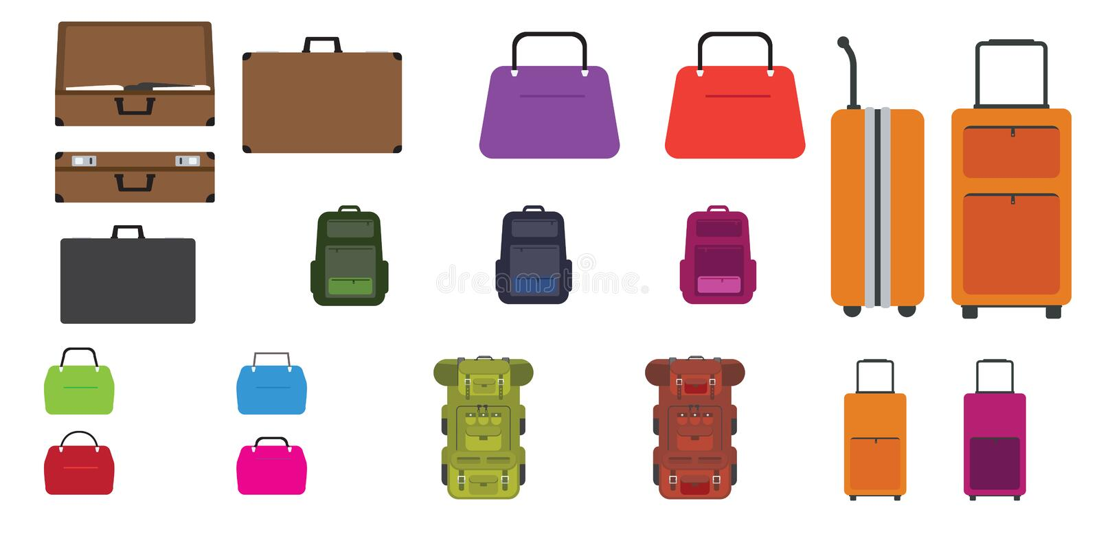 Set of bags. Travel bag, rucksack, woman bag and other bags with Flat design style. Vector illustration. royalty free illustration