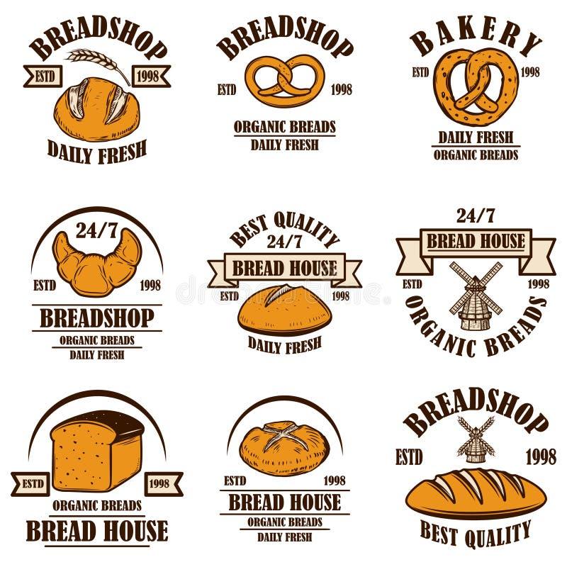 Set of bakery, bread shop emblems. Design element for poster, logo, label, sign. royalty free illustration