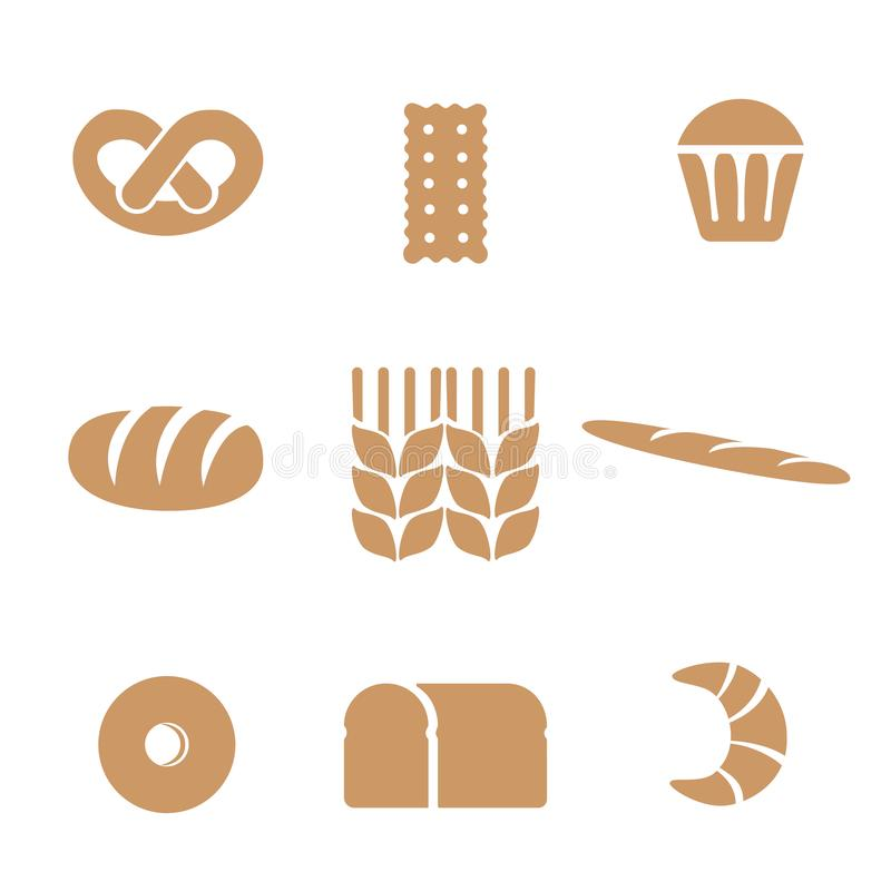 Set of bakery icons. It includes symbols such as bread, bun, croissant, baguette, donut, cupcake, cracker, pretzel. Wheat ear. Bakery shop concept. Can be used royalty free illustration