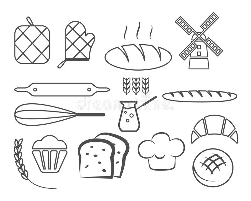 Set of bakery line icons and design elements royalty free illustration