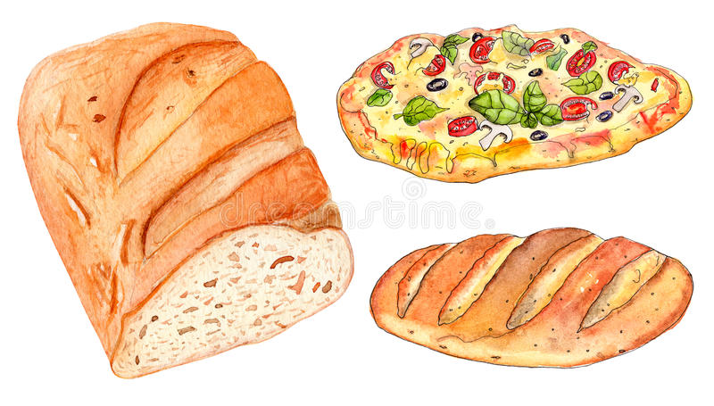 Set of bakery: loaf of bread and pizza stock photography