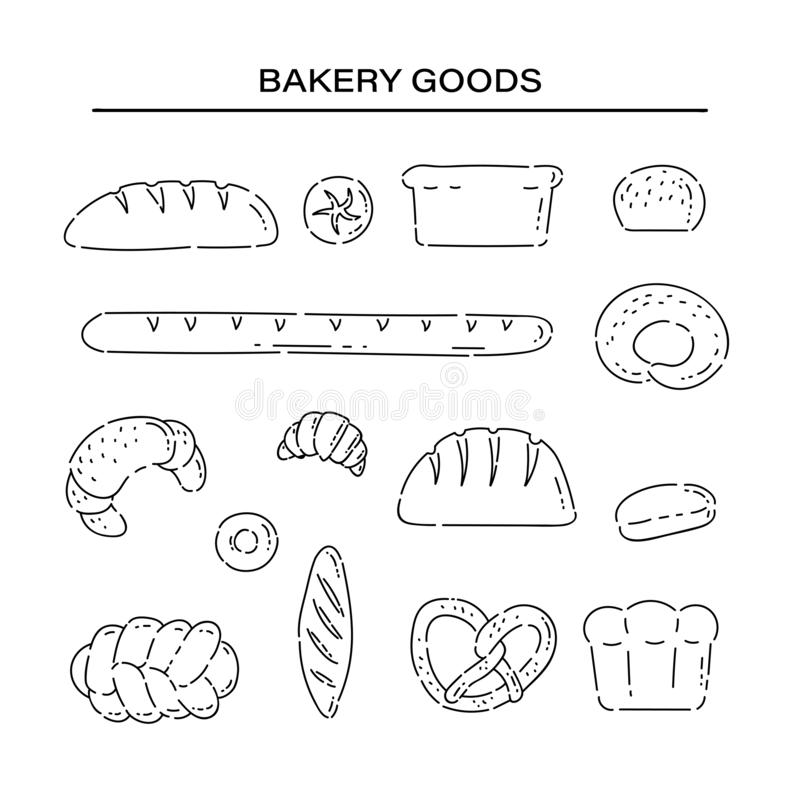 Set bakery products bread line doodle icons. Different baked goods vector sketch black isolated illustration on white stock illustration