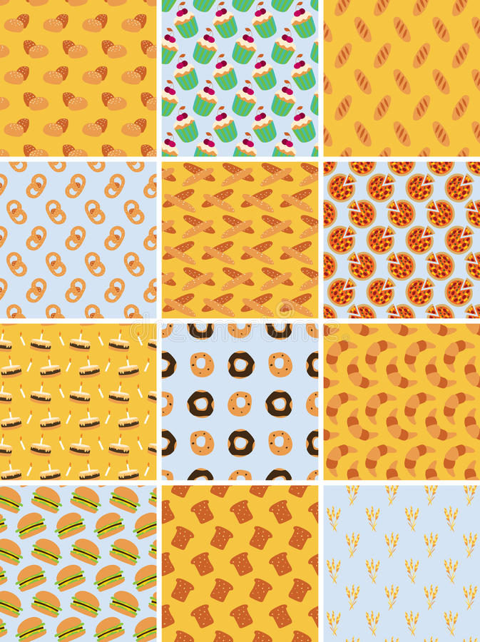 Download Set Of Bakery Seamless Patterns Stock Vector - Image: 26774823