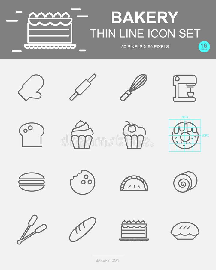 Set of Bakery Vector Line Icons. Includes bread, bakery, cake, cookie and more. 50 x 50 Pixel. Set of Bakery Vector Line Icons. Includes bread, bakery, cake stock illustration