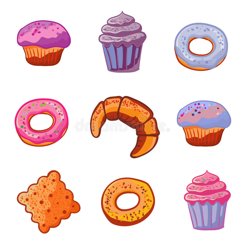 Set of baking products. Dessert icons flat style Muffin, donut, ice cream, dessert, croissant, cookie. Vector. Set of sweets baking products. Dessert icons flat royalty free illustration
