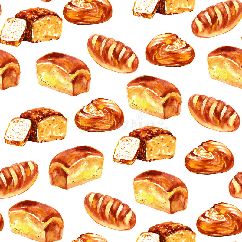 Set of baking in watercolor style. Buns, baguettes, bread royalty free illustration