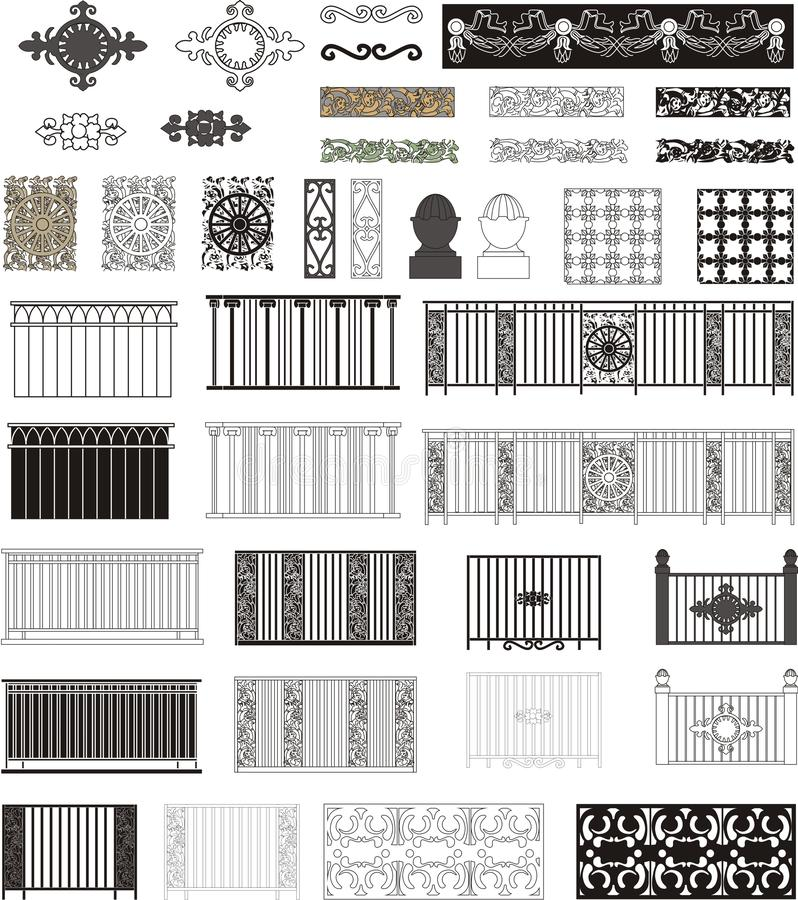 Set of balcony grilles royalty free stock image