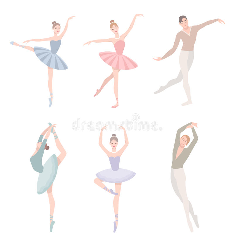 Set of ballet dancer. Vector illustration in flat style. Girl and guy in tutu dress, different choreographic position. Collection stock illustration