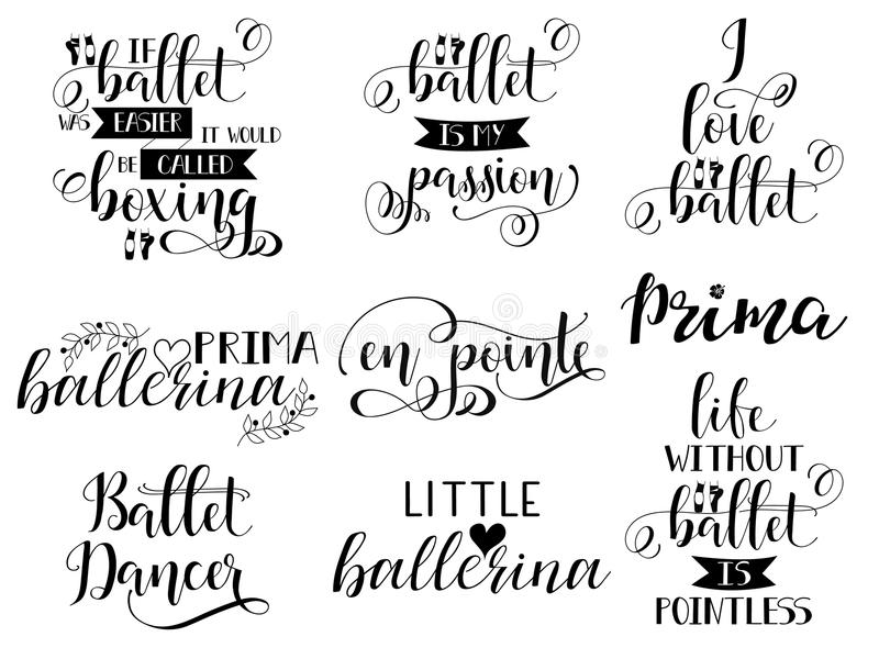 Set of 9 ballet hand lettering. Modern calligraphy. Great for dance studio decor, merch, apparel design. stock illustration