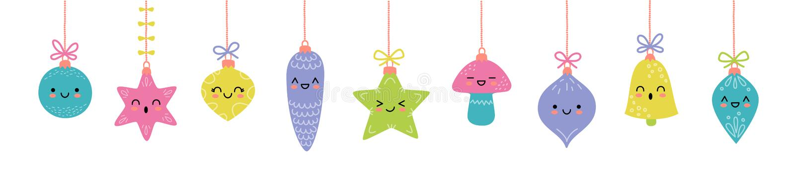 Set of balls for Christmas tree decorations. New Year toys. Collection of vector illustration in cartoon style royalty free illustration